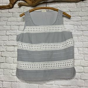 MAISON JULES ANTHRO Tank Top Dots and Lace Size M